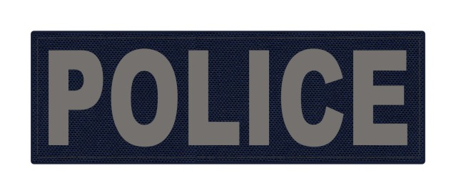 POLICE ID Patch - 6x2 - Gray Lettering - Navy Backing - Hook Fabric