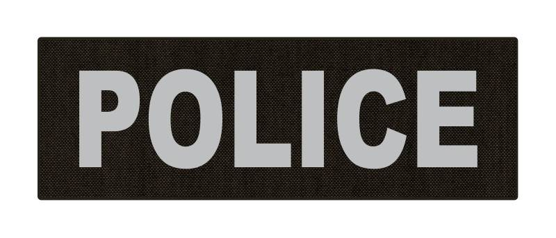 POLICE ID Patch - 6x2 - Gray Lettering - Ranger Green Backing - Hook Fabric
