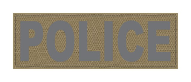 POLICE ID Patch - 6x2 - Gray Lettering - Tan Backing - Hook Fabric