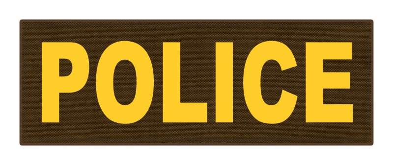 POLICE ID Patch - 8.5x3.0 - Gold Lettering - Coyote Backing - Hook Fabric
