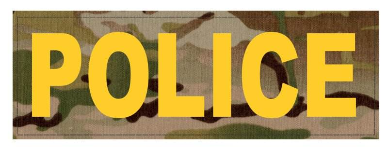 POLICE ID Patch - 8.5x3.0 - Gold Lettering - Multicam Backing - Hook Fabric