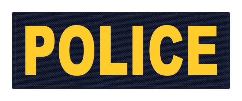 POLICE ID Patch - 8.5x3.0 - Gold Lettering - Navy Backing - Hook Fabric