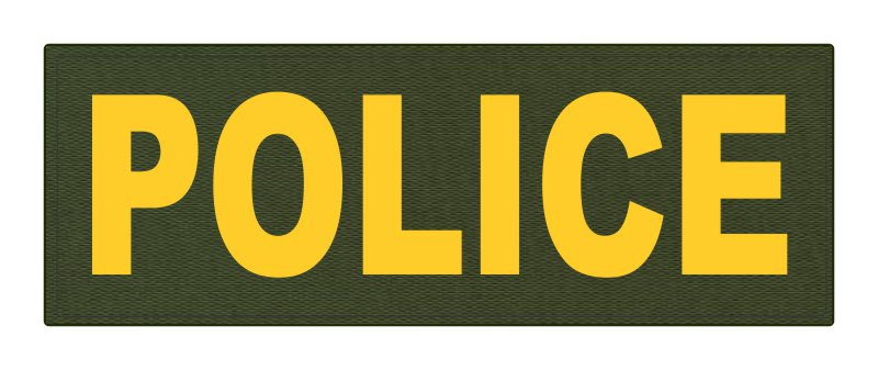 POLICE ID Patch - 8.5x3.0 - Gold Lettering - OD Green Backing - Hook Fabric