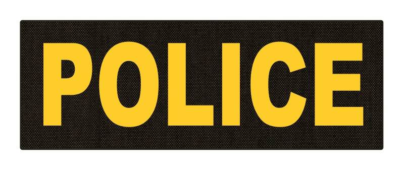 POLICE ID Patch - 8.5x3.0 - Gold Lettering - Ranger Green Backing - Hook Fabric