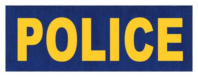 POLICE ID Patch - 8.5x3.0 - Gold Lettering - Royal Blue Backing - Hook Fabric