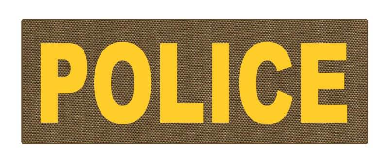 POLICE ID Patch - 8.5x3.0 - Gold Lettering - Tan Backing - Hook Fabric