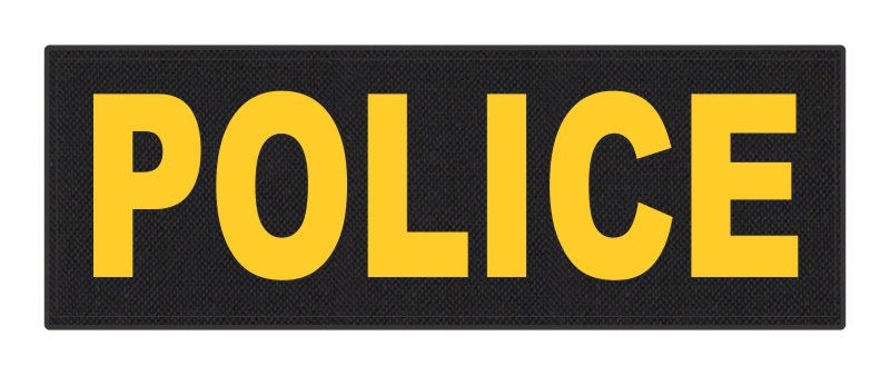 POLICE ID Patch - 8.5x3.0 - Gold Lettering - Black Backing - Hook Fabric