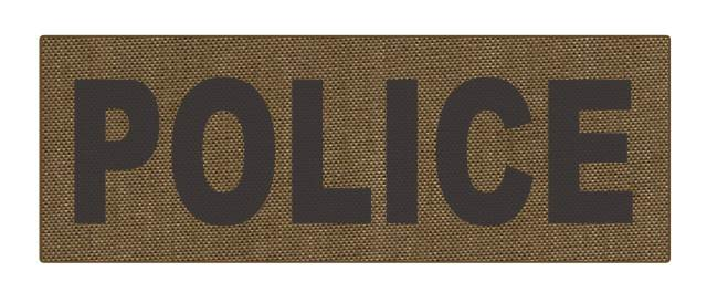 POLICE ID Patch - 8.5x3.0 - Reflective Black Lettering - Tan Backing - Hook Fabric