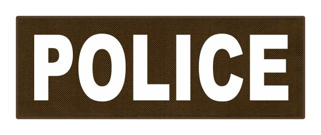 POLICE ID Patch - 8.5x3.0 - White Lettering - Coyote Backing - Hook Fabric