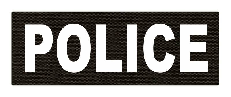 POLICE ID Patch - 8.5x3.0 - White Lettering - Ranger Green Backing - Hook Fabric