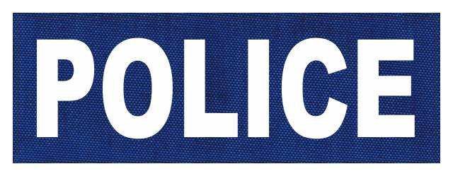 POLICE ID Patch - 8.5x3.0 - White Lettering - Royal Blue Backing - Hook Fabric