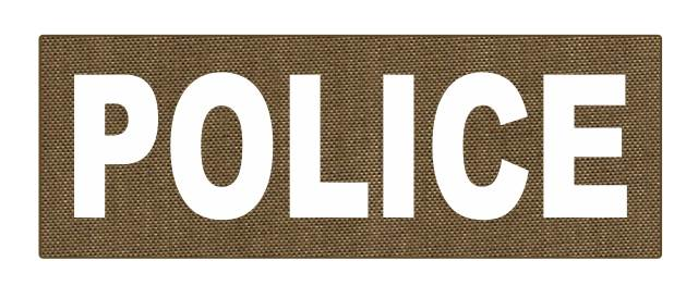 POLICE ID Patch - 8.5x3.0 - White Lettering - Tan Backing - Hook Fabric