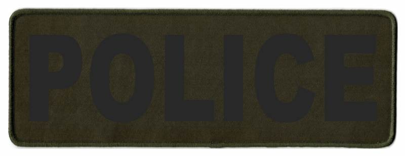 POLICE Identification Patch - 11x4 - Black Lettering - OD Green Twill Backing