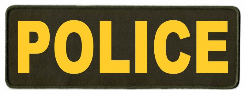 POLICE Identification Patch - 11x4 - Gold Lettering - OD Green Twill Backing