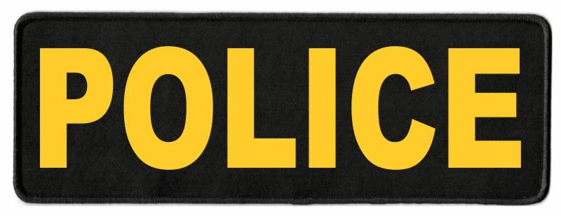 POLICE Identification Patch - 11x4 - Gold Lettering - Black Twill Backing