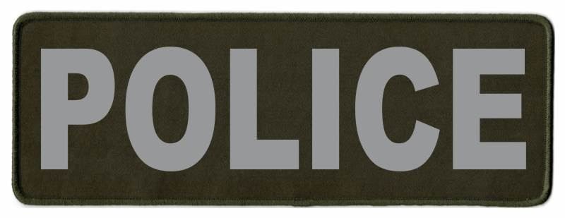 POLICE Identification Patch - 11x4 - Gray Lettering - OD Green Twill Backing