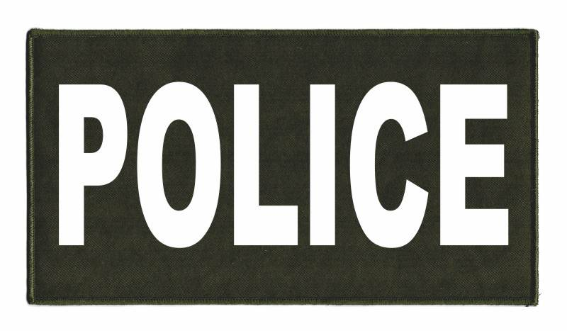 POLICE Identification Patch - 11x6 - White Lettering - OD Green Twill Backing