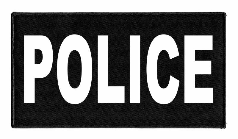POLICE Identification Patch - 11x6 - White Lettering - Black Backing