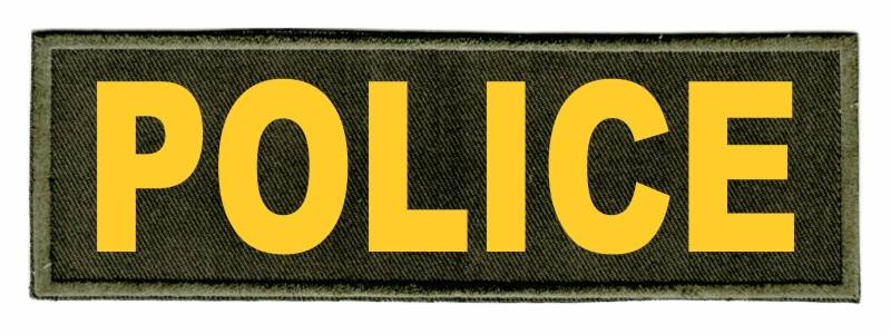 POLICE Identification Patch - 6x2 - Gold Lettering - OD Green Twill Backing