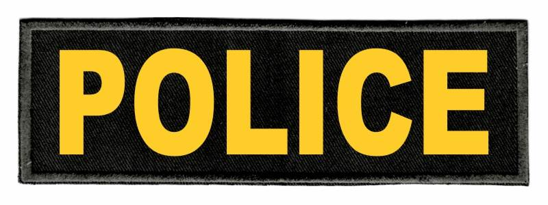 POLICE Identification Patch - 6x2 - Gold Lettering - Black Twill Backing