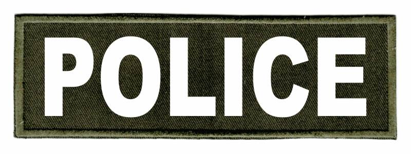POLICE Identification Patch - 6x2 - White Lettering - OD Green Twill Backing