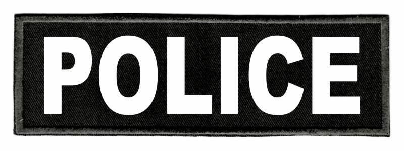 POLICE Identification Patch - 6x2 - White Lettering - Black Twill Backing