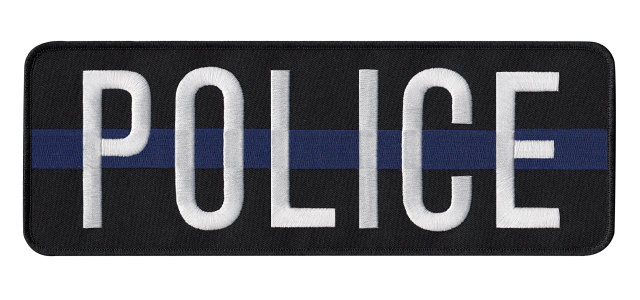 POLICE This Blue Line Back Patch - 11 x 4 - White Lettering - Black Backing