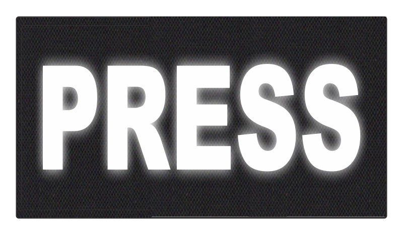 PRESS ID Patch - 11x6 - Reflective White Lettering - Black Backing - Hook Fabric