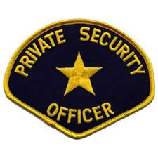PRIVATE SECURITY OFFICER Shoulder Patch - Gold Lettering: Navy Backing