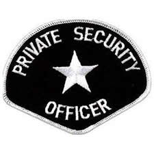 PRIVATE SECURITY OFFICER Shoulder Patch - White Lettering: Black Backing