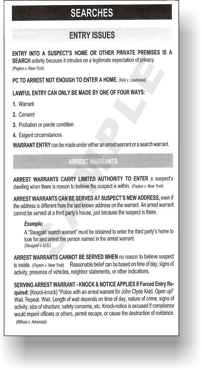 LawTech Qwik-Code Search and Seizure - Law Summaries - 2019