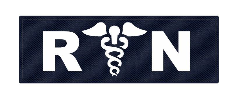 R/N Caduces ID Patch - 6x2 - White Lettering - Navy Backing - Hook Fabric