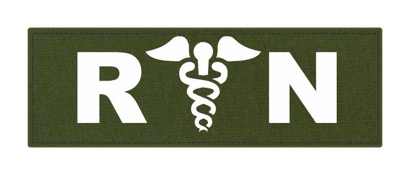 R/N Caduces ID Patch - 8.5x3 - White Lettering - OD Green Backing - Hook Fabric