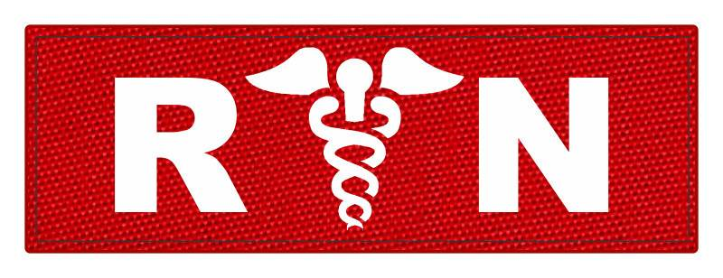 R/N Caduces ID Patch - 8.5x3 - White Lettering - Red Backing - Hook Fabric