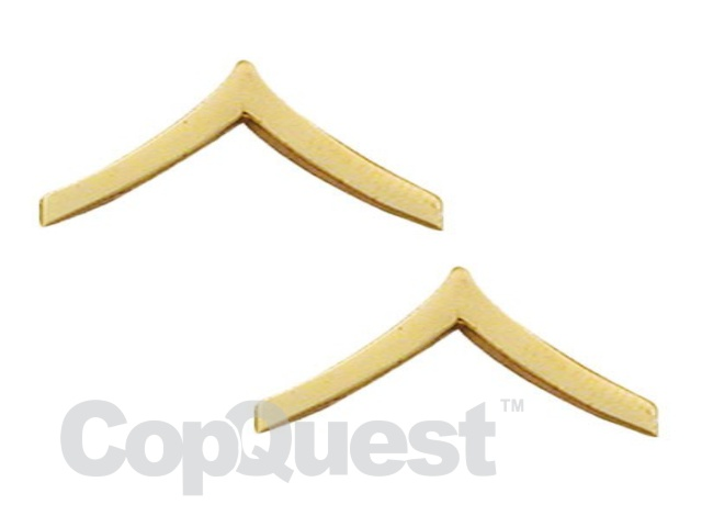 Rank Insignia - Chevrons 1-1/4 inches wide - Private - 1 stripe - Pair - Gold Finish