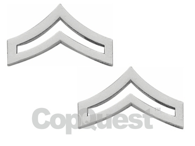 Rank Insignia - Chevrons 1-1/4 inches wide - Corporal - 2 stripes - Pair - Nickel Finish