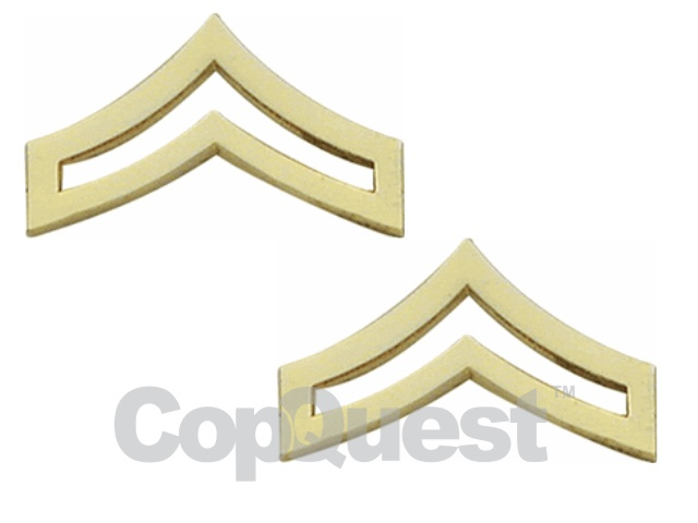 Rank Insignia - Chevrons 1-1/4 inches wide - Corporal - 2 stripes - Pair - Gold Finish