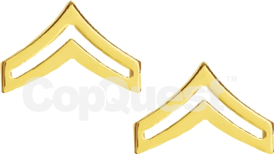 Rank Insignia - Chevrons - 1-inch - Corporal - 2 Stripe - Pair - Gold Finish