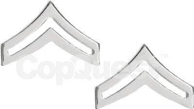 Rank Insignia - Chevrons - 1-inch - Corporal - 2 Stripe - Pair - Nickel Finish