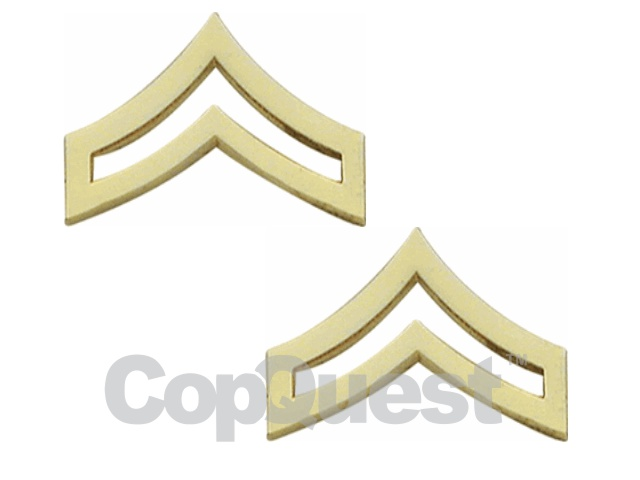 Rank Insignia - Chevrons 1-inch width - Corporal - 2 stripes - Pair - Gold Finish