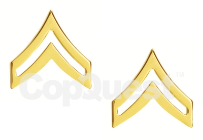Rank Insignia - Chevrons - 3/4-inch - Corporal - 2 Stripe - Pair - Gold Finish