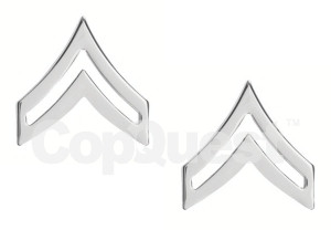 Rank Insignia - Chevrons - 3/4-inch - Corporal - 2 Stripe - Pair - Nickel Finish