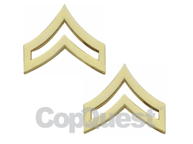 Rank Insignia - Chevrons - 7/8-inch width - Corporal - 2 stripes - Pair - Gold Finish