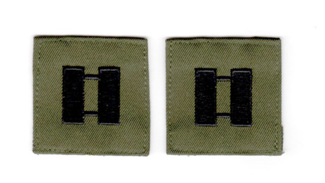 Rank Insignia - Cloth Sew On - Pair - Captain - Black on OD Green
