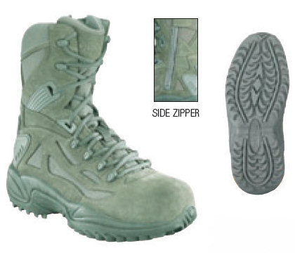 Reebok RB899 Sage Green Rapid Response 8-inch Side Zip Composite Safety Toe Boots Women's
