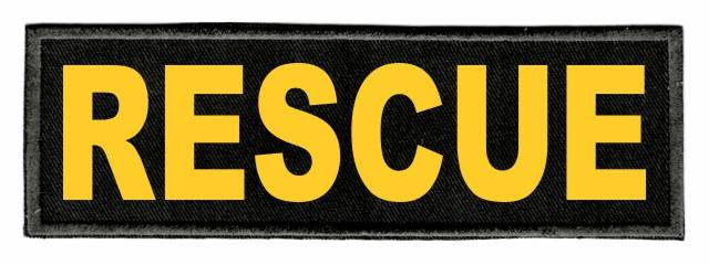 RESCUE ID Patch - 6x2 - Gold Lettering - Black Twill Backing