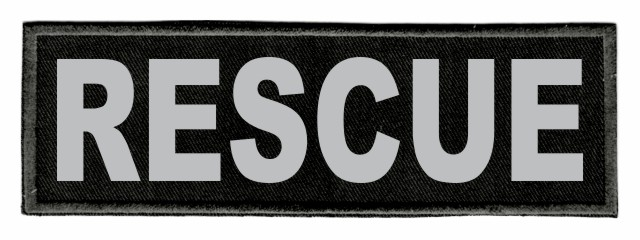 RESCUE ID Patch - 6x2 - Gray Lettering - Black Twill Backing
