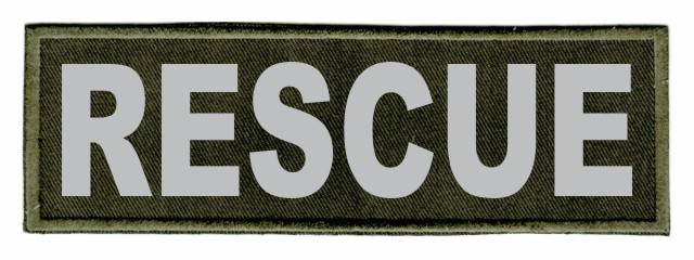 RESCUE ID Patch - 6x2 - Gray Lettering - OD Green Twill Backing