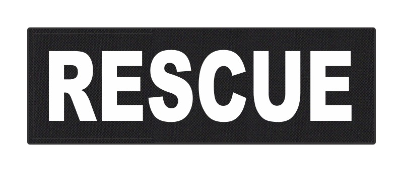 RESCUE Patch - 6x2 - White Lettering - Black Backing - Hook Fabric