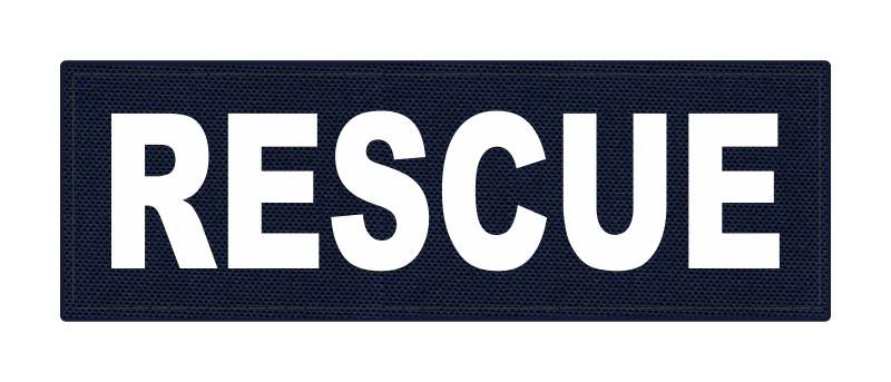 RESCUE Patch - 6x2 - White Lettering - Navy Backing - Hook Fabric